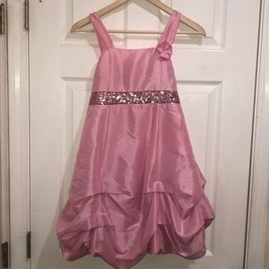 Pink silky girl's dress